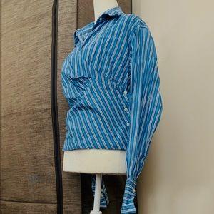 Blue cotton striped side button blouse